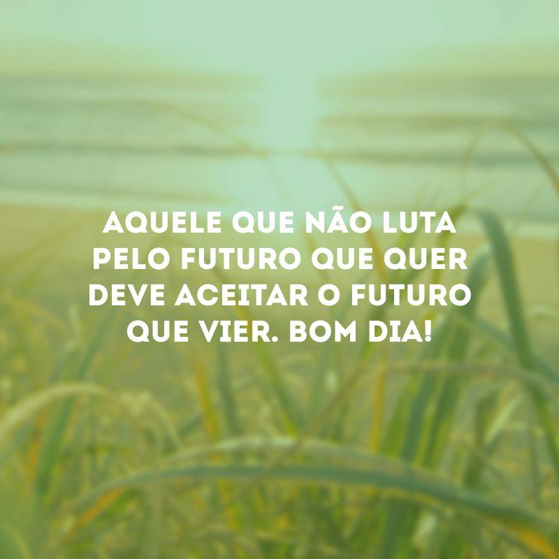 Aquele que não luta pelo futuro que quer deve aceitar o futuro que vier. Bom dia!