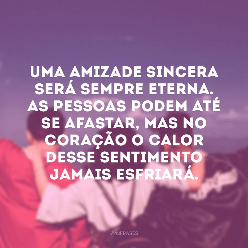 Uma amizade sincera será sempre eterna. As pessoas podem até se afastar, mas no coração o calor desse sentimento jamais esfriará.