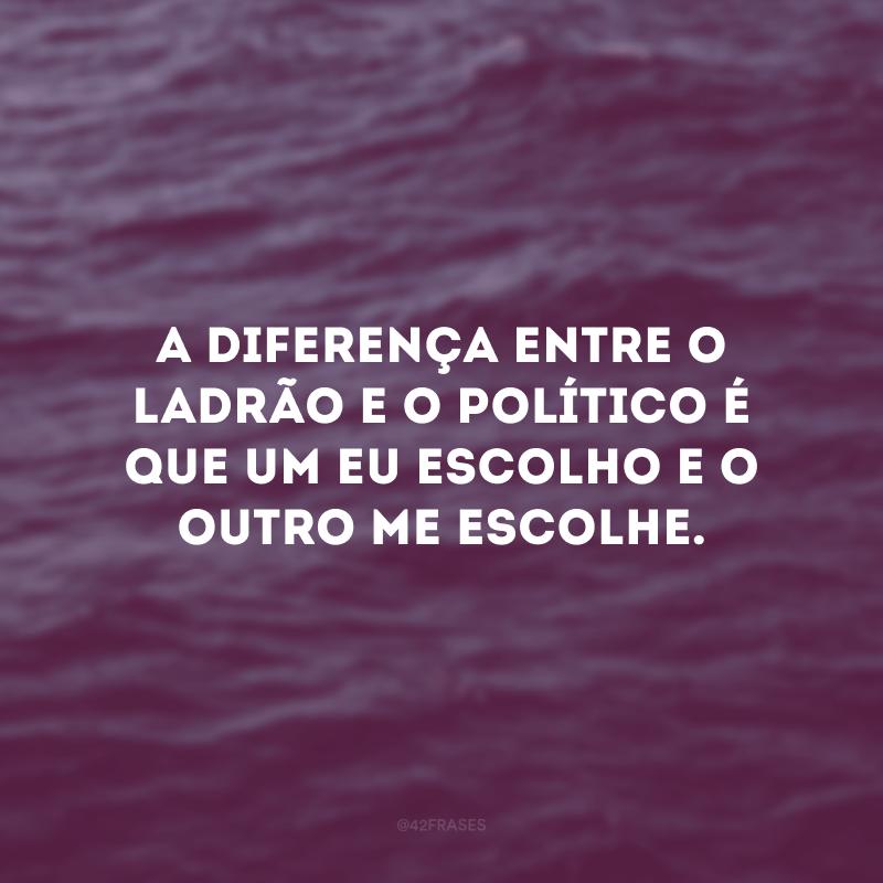 A diferença entre o ladrão e o político é que um eu escolho e o outro me escolhe.