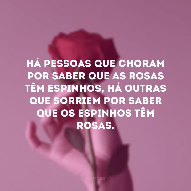 Há pessoas que choram por saber que as rosas têm espinhos, há outras que sorriem por saber que os espinhos têm rosas.