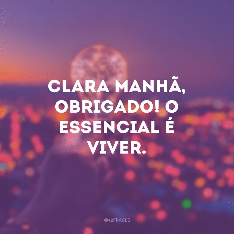 Clara manhã, obrigado! O essencial é viver.