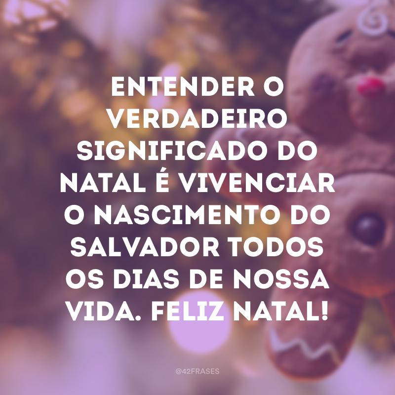 Entender o verdadeiro significado do Natal é vivenciar o nascimento do Salvador todos os dias de nossa vida. Feliz Natal!