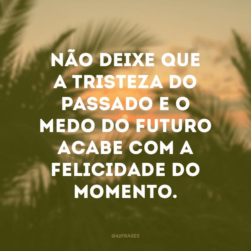 Não deixe que a tristeza do passado e o medo do futuro acabe com a felicidade do momento.