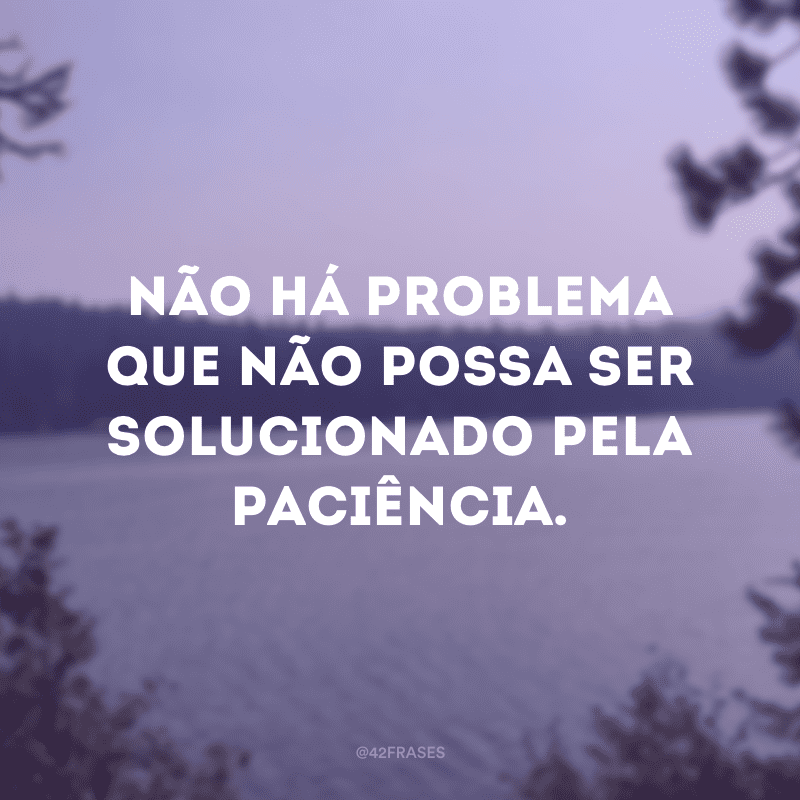 Não há problema que não possa ser solucionado pela paciência.