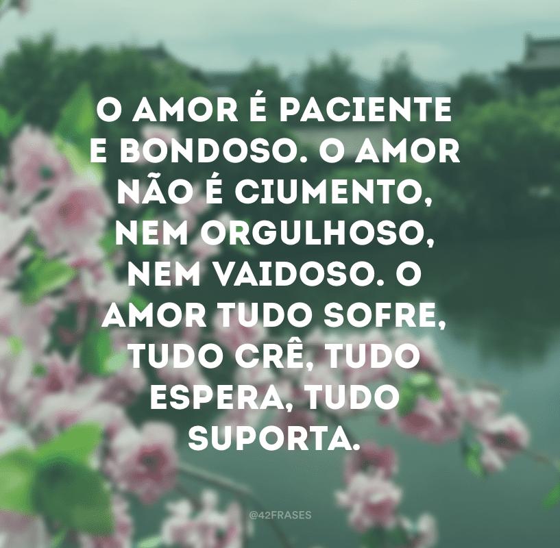 O amor é paciente e bondoso. O amor não é ciumento, nem orgulhoso, nem vaidoso. O amor tudo sofre, tudo crê, tudo espera, tudo suporta.
