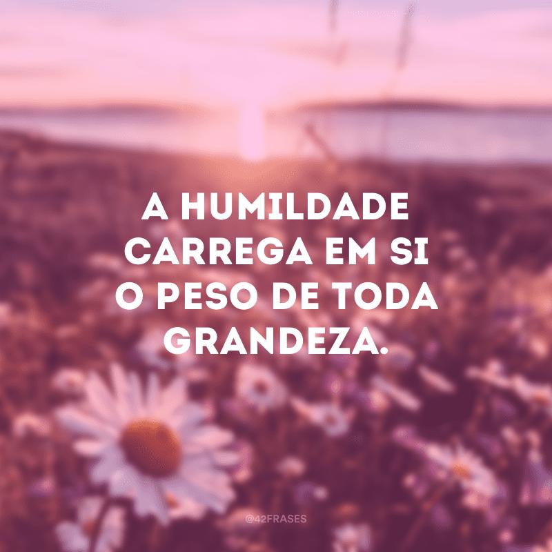A humildade carrega em si o peso de toda grandeza.