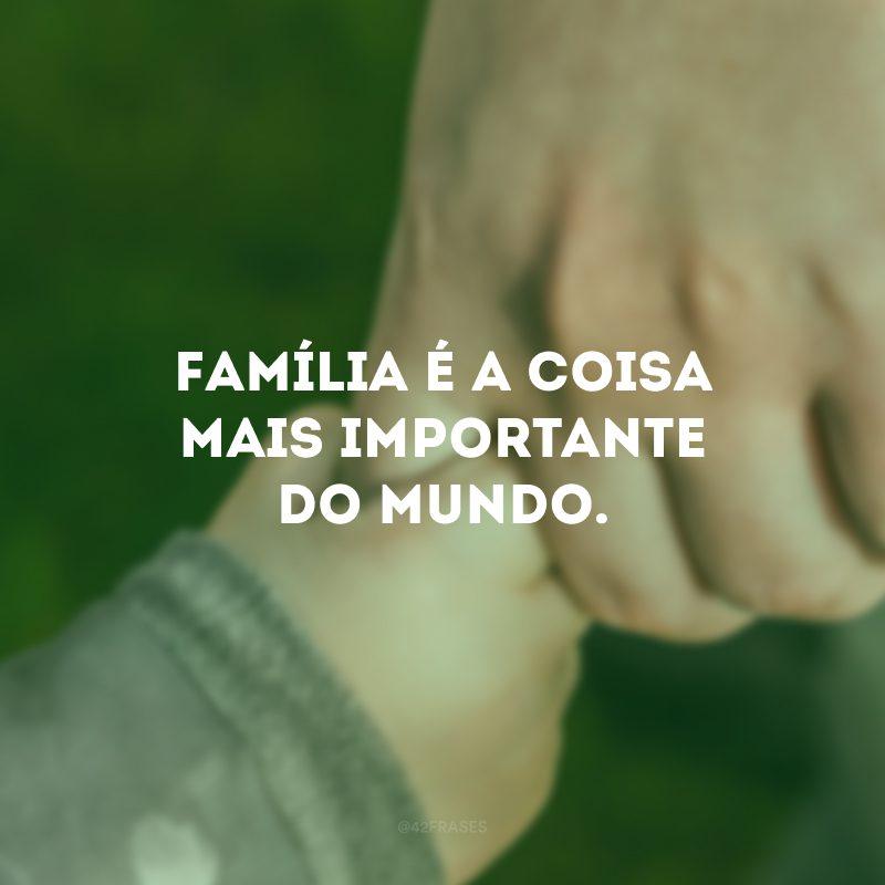 Família é a coisa mais importante do mundo.