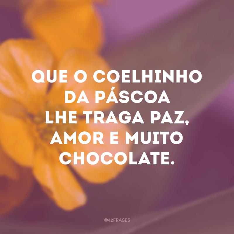 Que o coelhinho da Páscoa lhe traga paz, amor e muito chocolate.