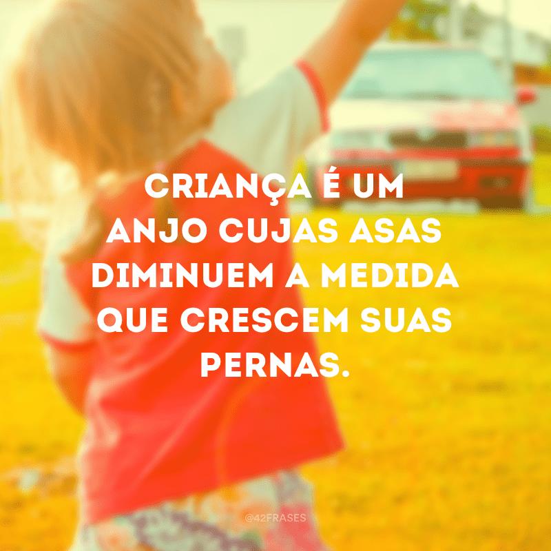 Criança é um anjo cujas asas diminuem a medida que crescem suas pernas.