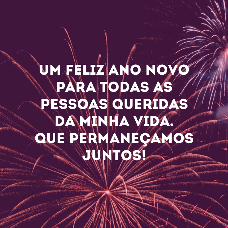Um feliz Ano Novo para todas as pessoas queridas da minha vida. Que permaneçamos juntos!