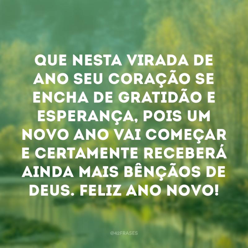 Que nesta virada de ano seu coração se encha de gratidão e esperança, pois um novo ano vai começar e certamente receberá ainda mais bênçãos de Deus. Feliz Ano Novo!