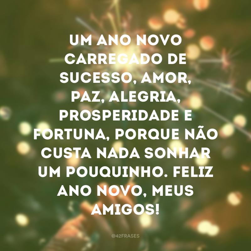 Um Ano Novo carregado de sucesso, amor, paz, alegria, prosperidade e fortuna, porque não custa nada sonhar um pouquinho. Feliz Ano Novo, meus amigos!