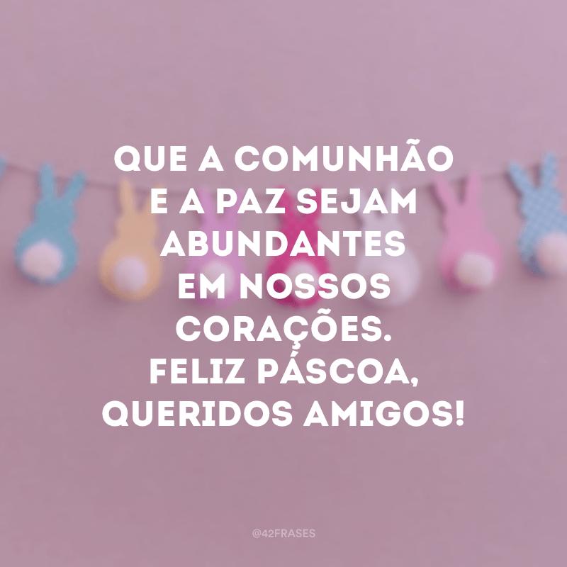 Que a comunhão e a paz sejam abundantes em nossos corações. Feliz Páscoa, queridos amigos!