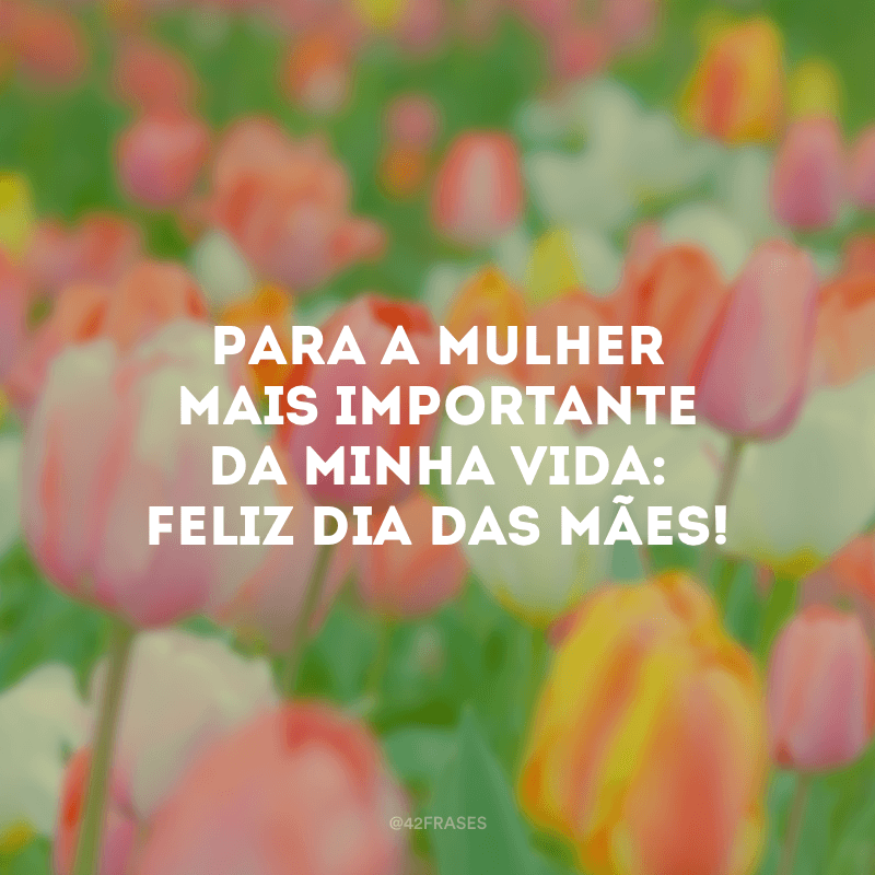 Para a mulher mais importante da minha vida: Feliz Dia das Mães!