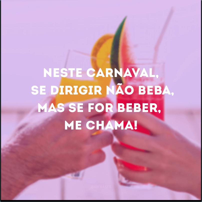 Neste Carnaval, se dirigir não beba, mas se for beber, me chama!