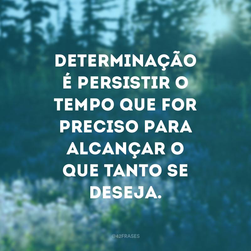 Determinação é persistir o tempo que for preciso para alcançar o que tanto se deseja.
