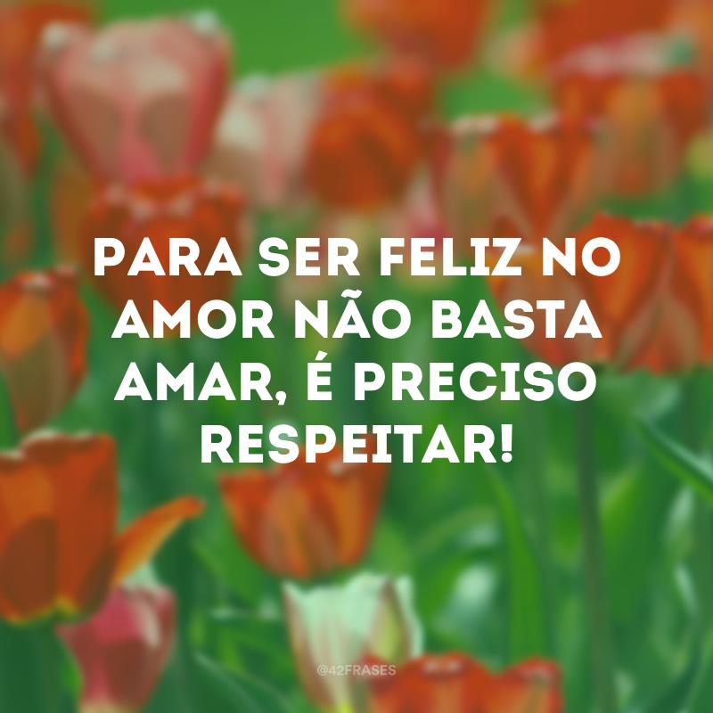 Para ser feliz no amor não basta amar, é preciso respeitar!