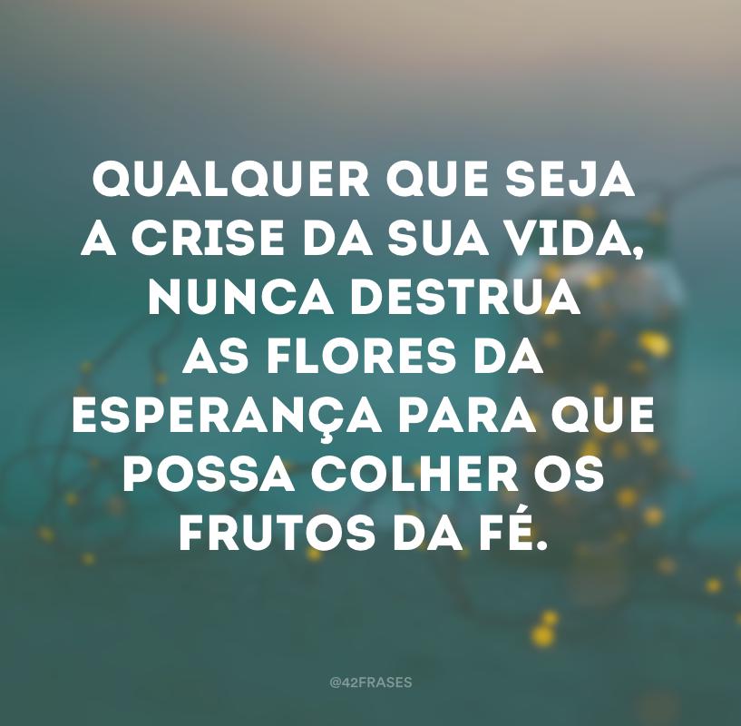 Qualquer que seja a crise da sua vida, nunca destrua as flores da esperança para que possa colher os frutos da fé.
