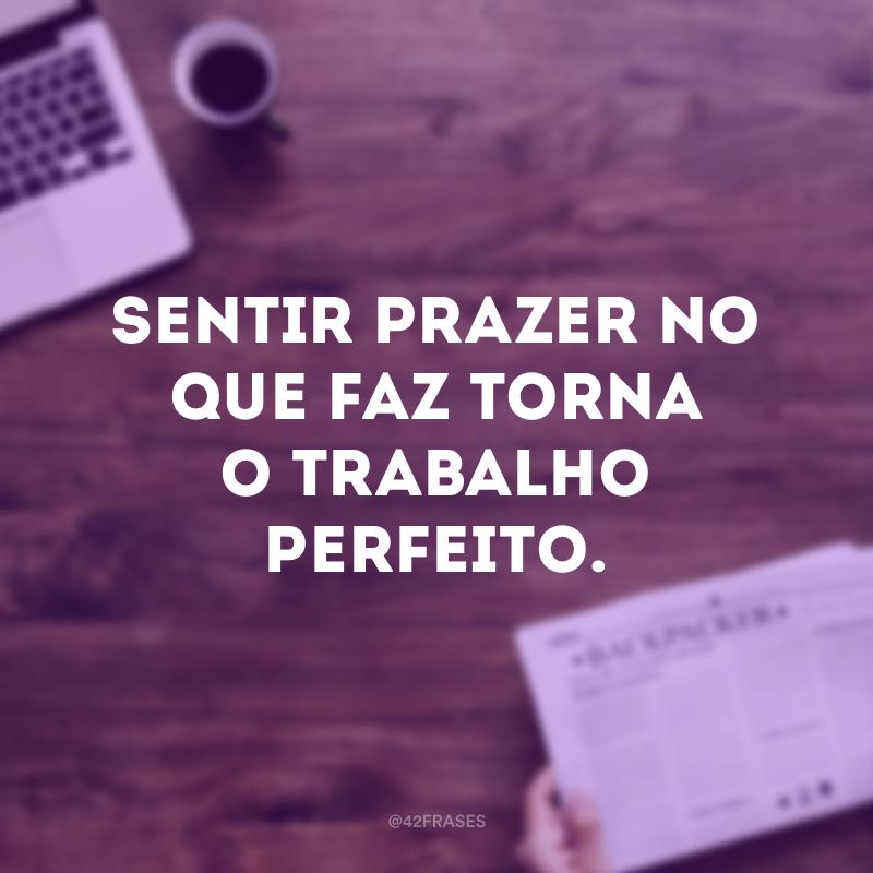 Sentir prazer no que faz torna o trabalho perfeito.