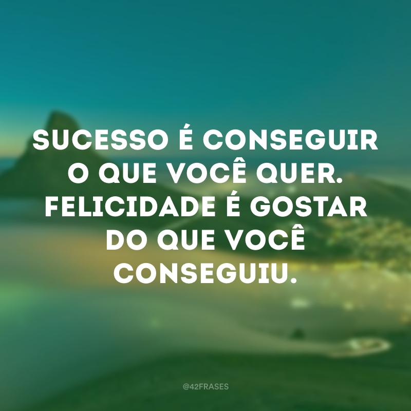 Sucesso é conseguir o que você quer. Felicidade é gostar do que você conseguiu.