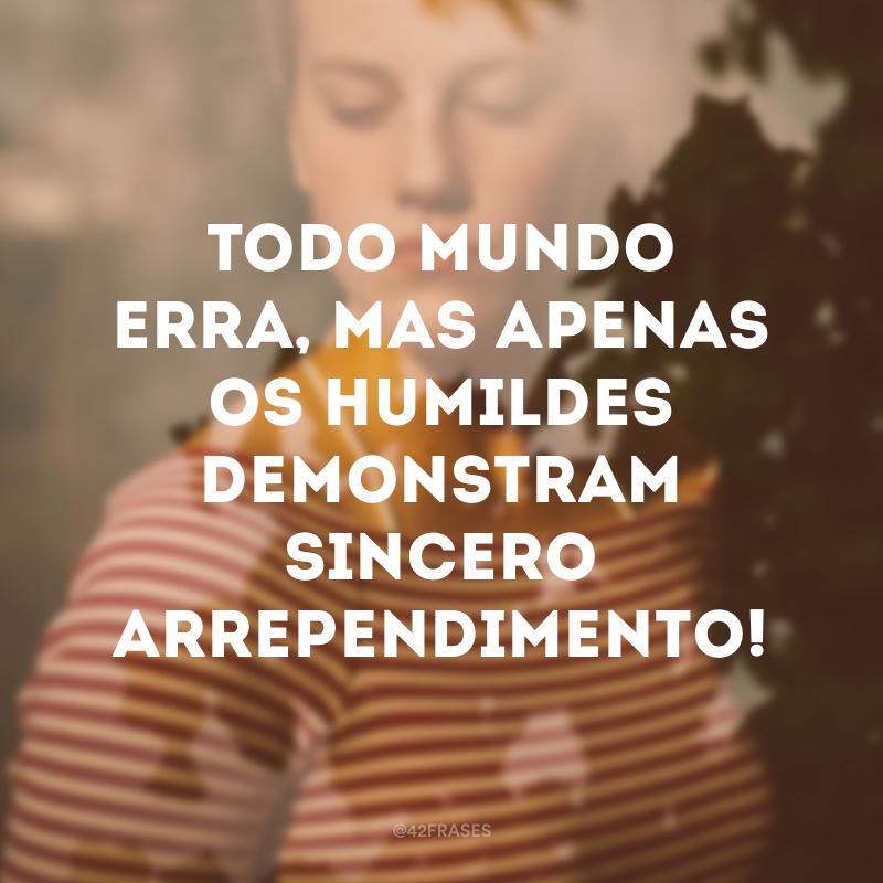 Todo mundo erra, mas apenas os humildes demonstram sincero arrependimento!