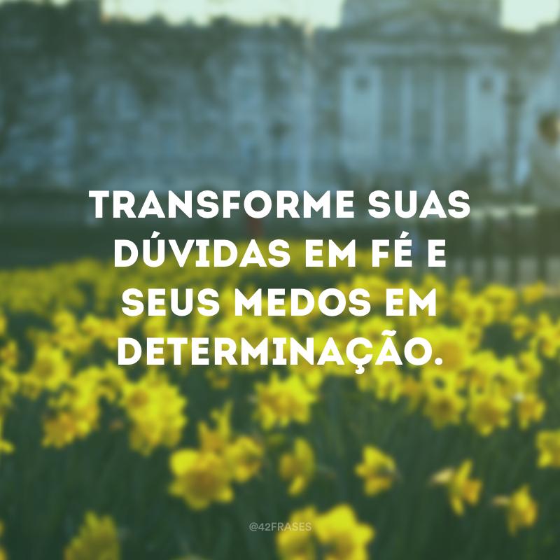 Transforme suas dúvidas em fé e seus medos em determinação.
