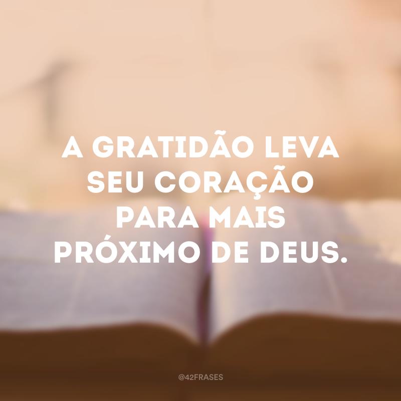 A gratidão leva seu coração para mais próximo de Deus.