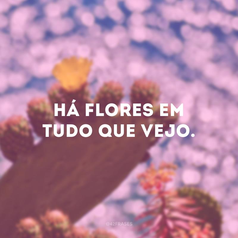 Há flores em tudo que vejo.