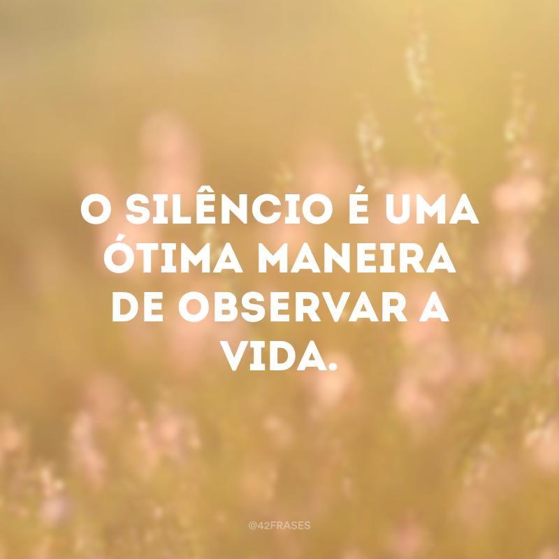 O silêncio é uma ótima maneira de observar a vida.