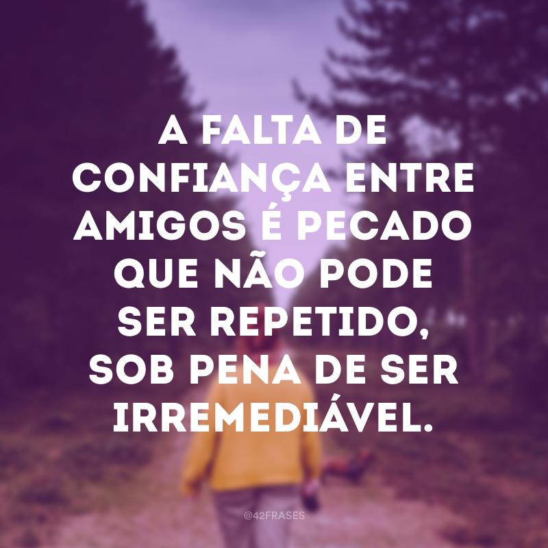 A falta de confiança entre amigos é pecado que não pode ser repetido, sob pena de ser irremediável.