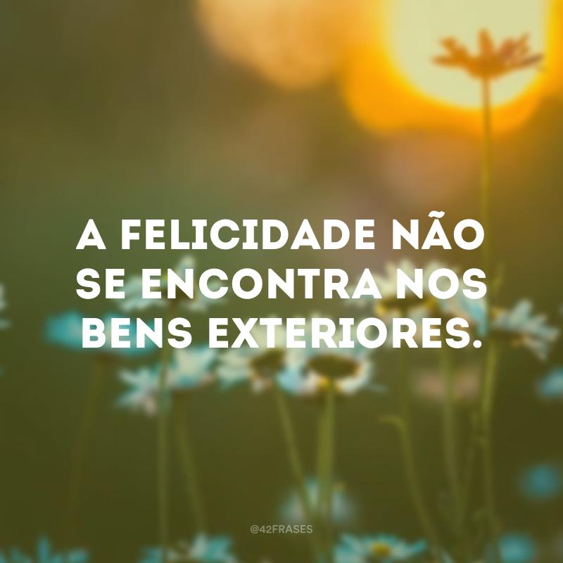 A felicidade não se encontra nos bens exteriores.