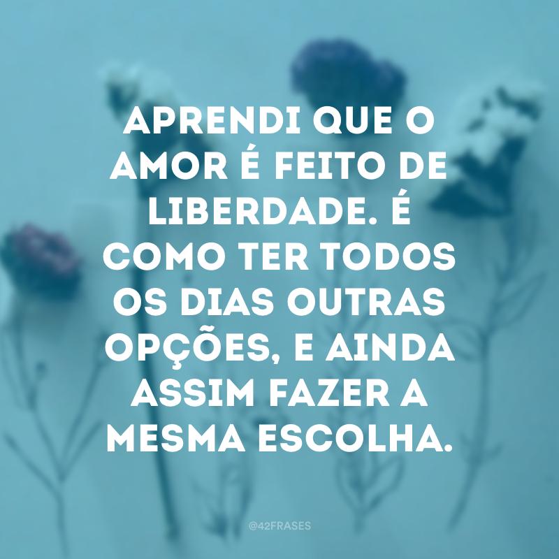 Aprendi que o amor é feito de liberdade. É como ter todos os dias outras opções, e ainda assim fazer a mesma escolha.