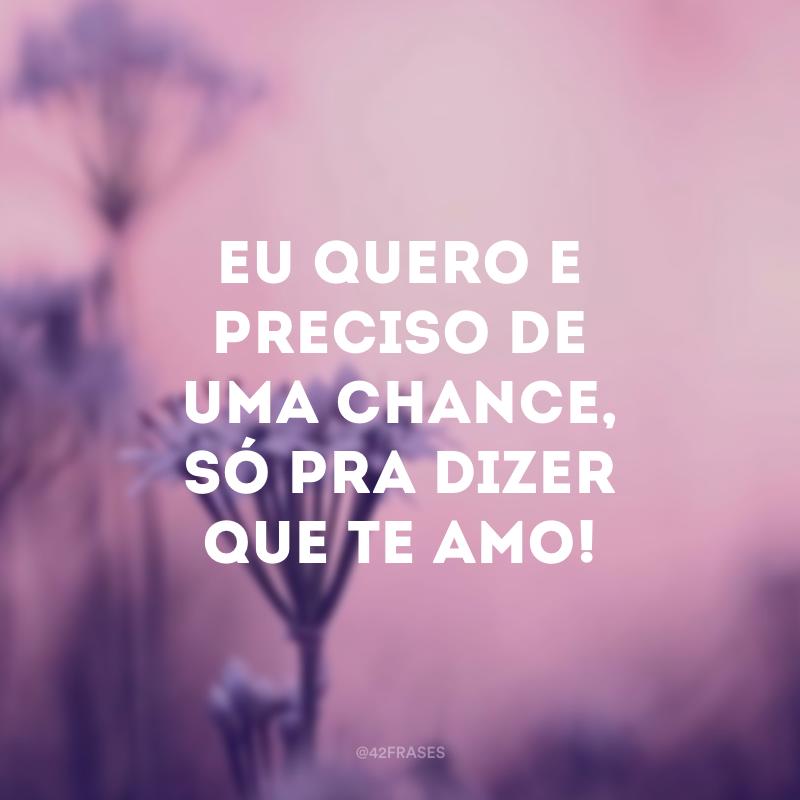 Eu quero e preciso de uma chance, só pra dizer que te amo!
