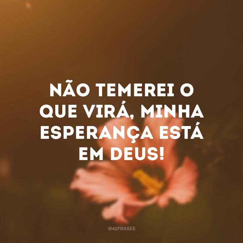 Não temerei o que virá, minha esperança está em Deus!