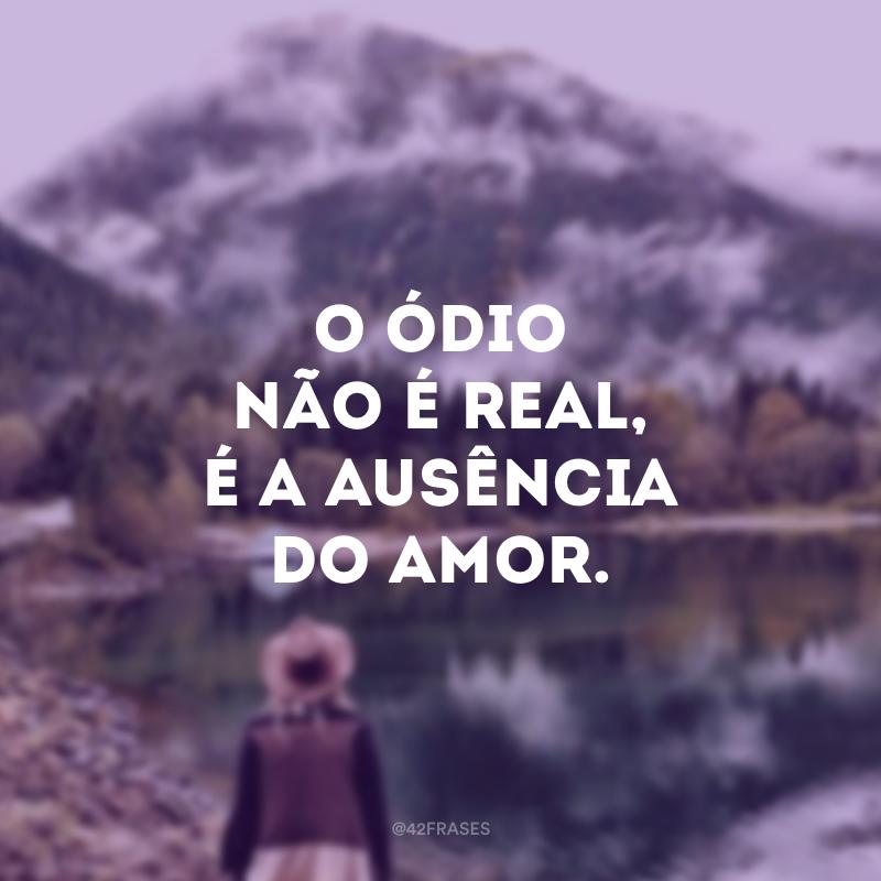 O ódio não é real, é a ausência do amor.