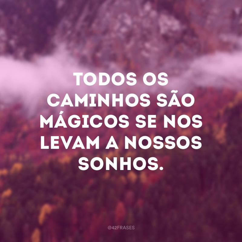 Todos os caminhos são mágicos se nos levam a nossos sonhos.