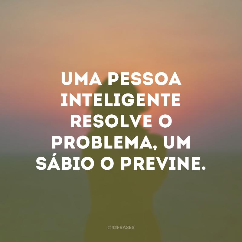 Uma pessoa inteligente resolve o problema, um sábio o previne.