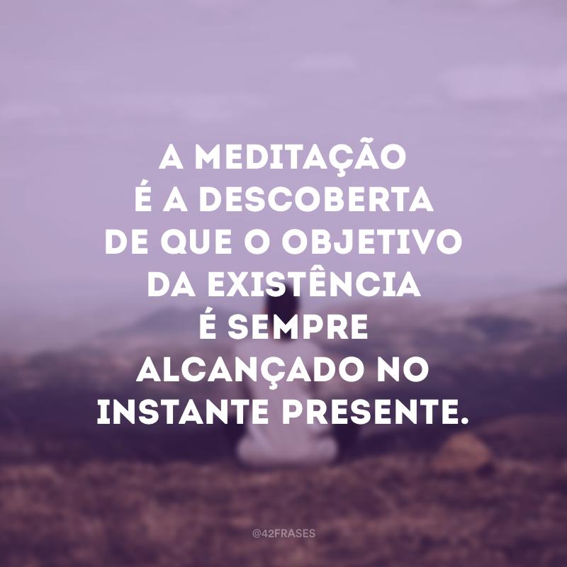 A meditação é a descoberta de que o objetivo da existência é sempre alcançado no instante presente.