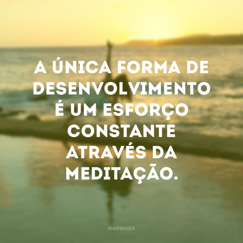 A única forma de desenvolvimento é um esforço constante através da meditação.