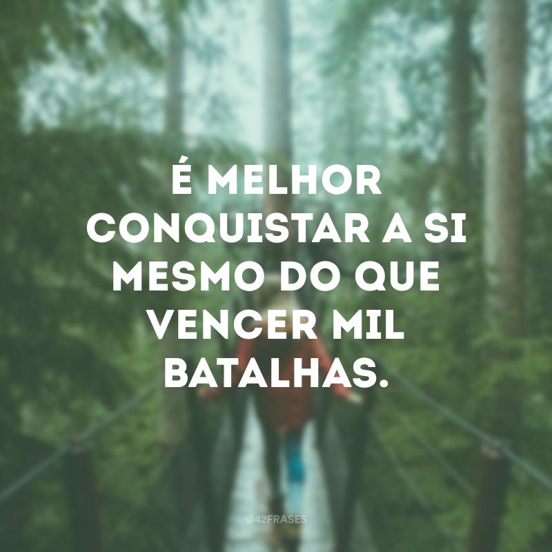 É melhor conquistar a si mesmo do que vencer mil batalhas.