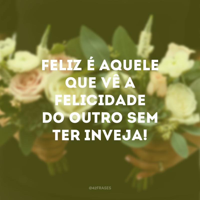Feliz é aquele que vê a felicidade do outro sem ter inveja!
