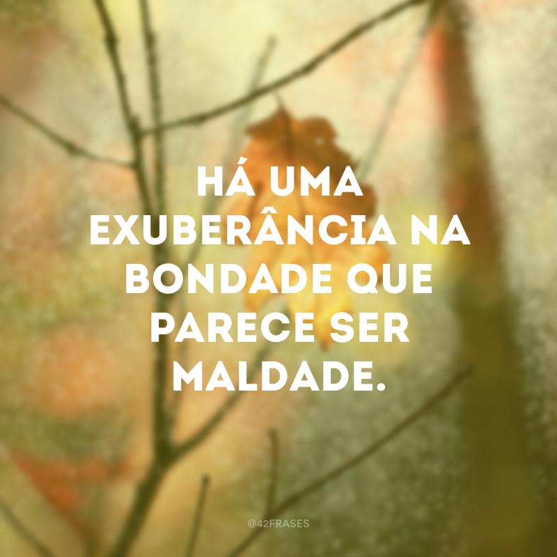 Há uma exuberância na bondade que parece ser maldade.