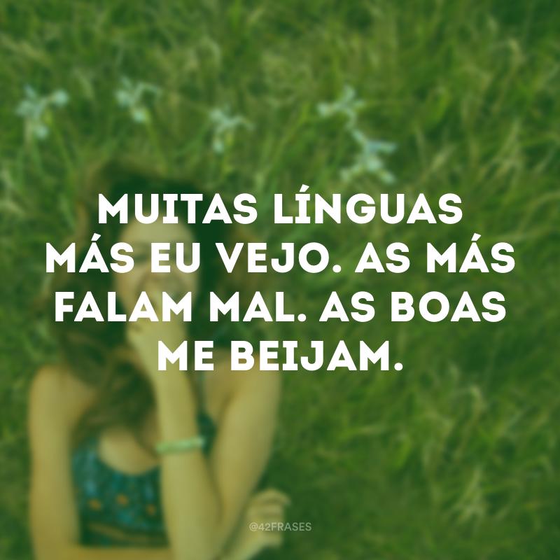 Muitas línguas más eu vejo. As más falam mal. As boas me beijam.
