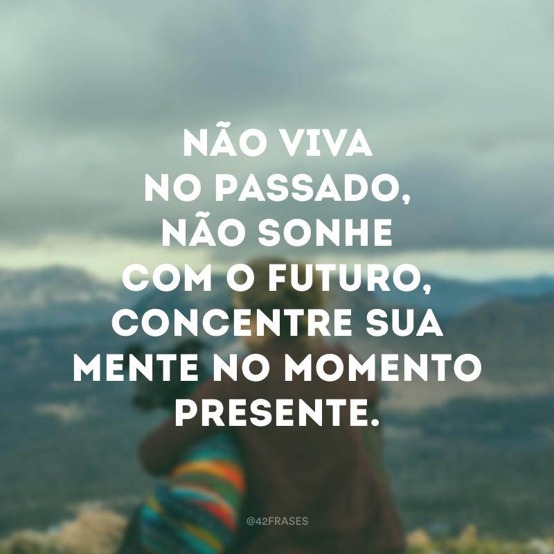 Não viva no passado, não sonhe com o futuro, concentre sua mente no momento presente.