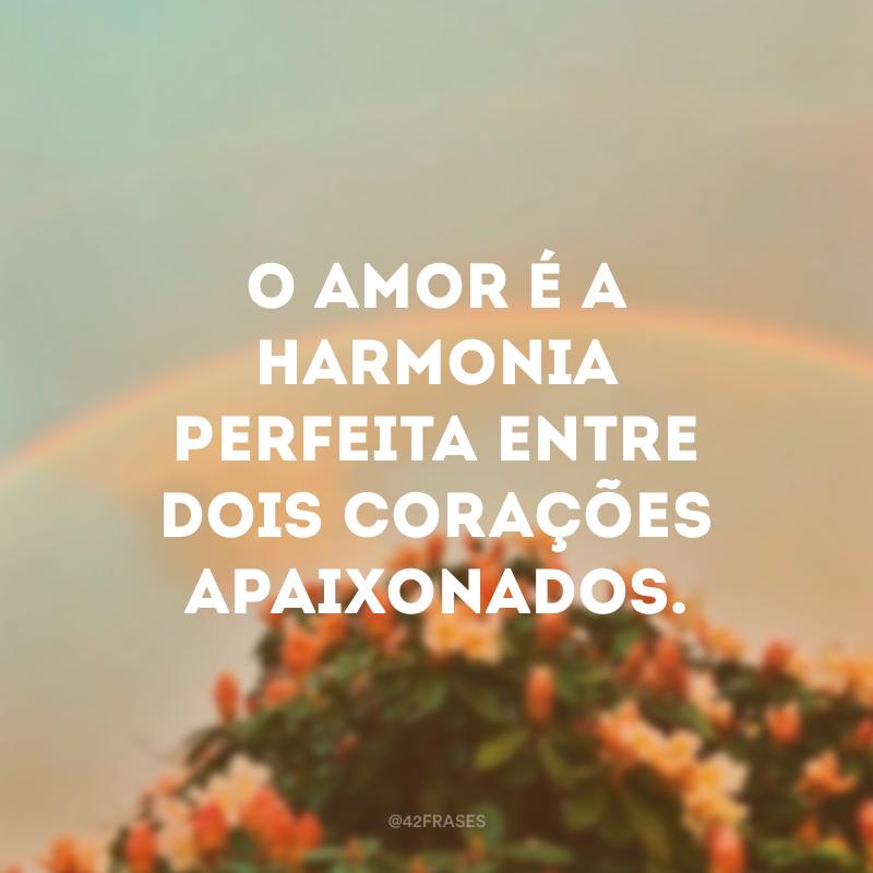 O amor é a harmonia perfeita entre dois corações apaixonados.