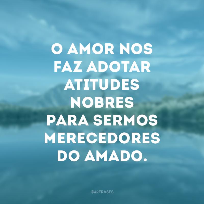 O amor nos faz adotar atitudes nobres para sermos merecedores do amado.
