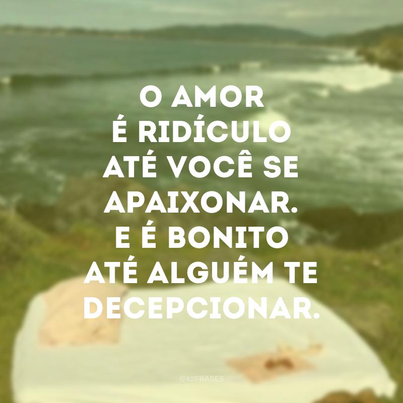 O amor é ridículo até você se apaixonar. E é bonito até alguém te decepcionar.