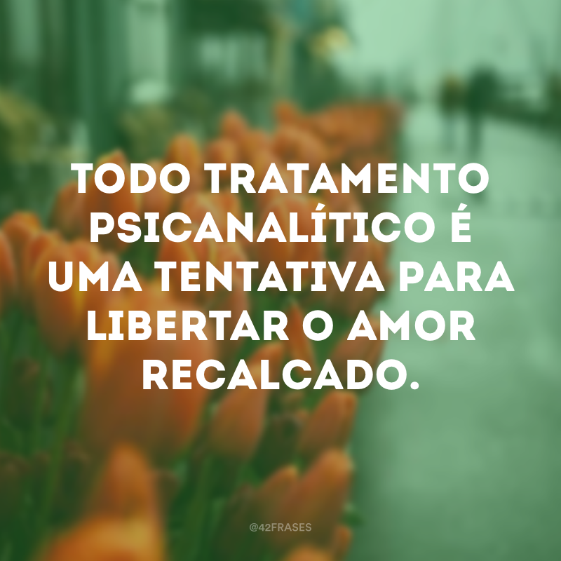 Todo tratamento psicanalítico é uma tentativa para libertar o amor recalcado.