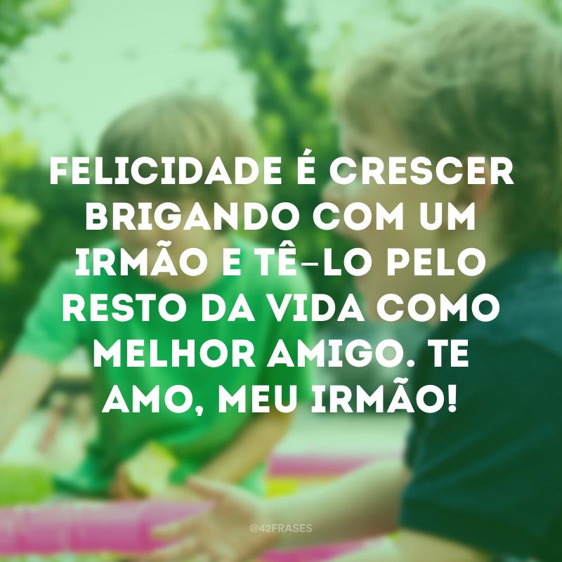 Felicidade é crescer brigando com um irmão e tê-lo pelo resto da vida como melhor amigo. Te amo, meu irmão!