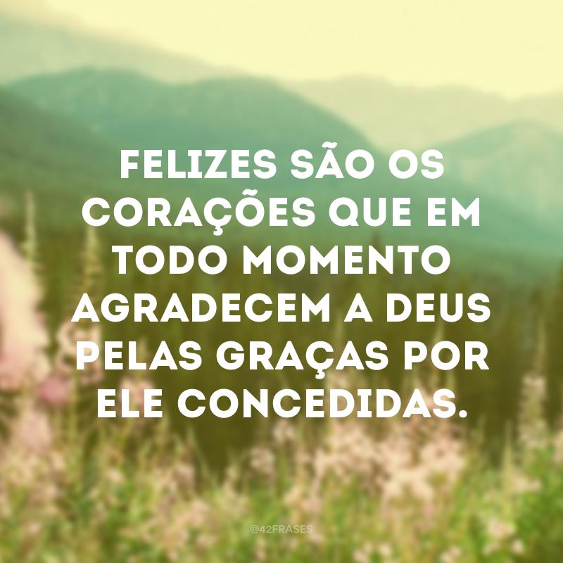 Felizes são os corações que em todo momento agradecem a Deus pelas graças por Ele concedidas.